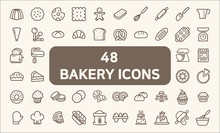 Set Of 48 Bakery And Dessert Icons Line Style.  Contains Such Icons As Cookie, Pudding, Oven, Kitchen Tools, Doughnut, Bread, Macaroon, Muffin And Other Elements.  Customize Color, Easy Resize.