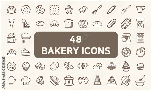 Fotografia Set of 48 bakery and dessert Icons line style