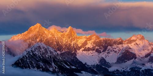 Cuadros en Lienzo Südwand Alpenglühen