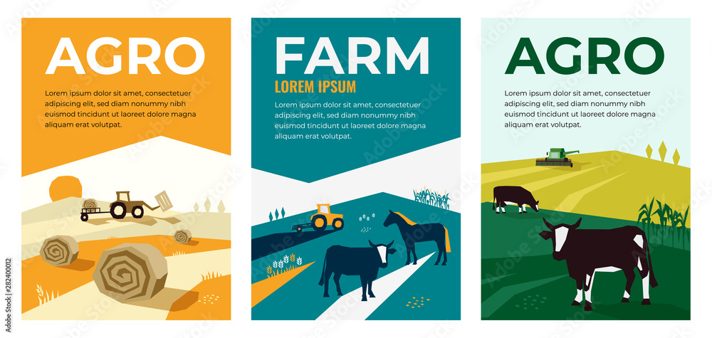 Fototapety, obrazy: Set of vectors with agriculture, farming, livestock, harvest. Illustrations of a tractor, hayfield, haystack rolls, farm animals, cows in pasture, combine harvester. Template for banner,poster, prints