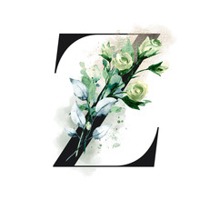 Letter Z With Watercolor Leaves. Floral Alphabet, Monogram Initials Perfectly For Personalized Wedding Invitations, Greeting Card, Logo, Poster And Other Design. Holiday Design Hand Painting.