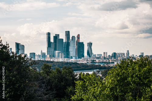 Poster Los Angeles Beautiful panoramic view of the business center of Moscow city from the Sparrow hills. Top view of Moscow city center.