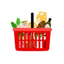 Shopping Basket With Products Isolated On White Background. Basket Shop With Purchase, Supermarket Basketful, Vector Illustration