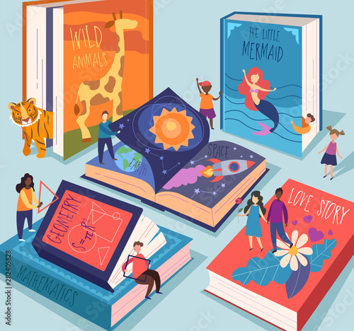 Cute tiny people reading different giant books and textbooks Fototapeta
