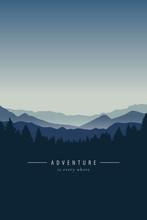 Adventure Blue Mountain Landscape Background Vector Illustration EPS10
