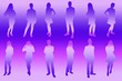 canvas print picture - Silhouettes of young people. Girls and boys in full growth. Colored silhouette on a purple-violet background, contour.