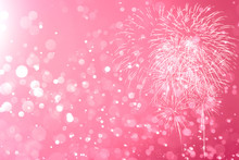 Pink Fireworks With Abstract B...