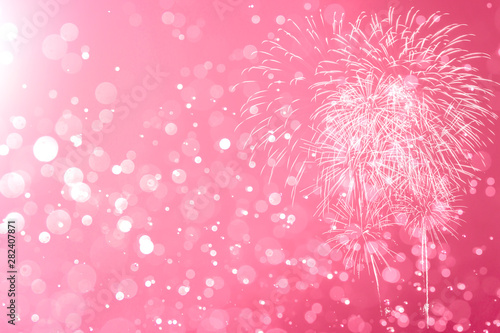 Pink Fireworks with Abstract bokeh background - 282407871