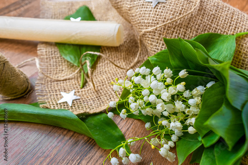 Poster Muguet de mai lily of the valley on the table