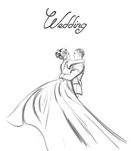 Wedding Couple Vector Line Art...