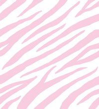 Vector Seamless Pattern Of Pastel Pink Zebra Fur Isolated On White Background