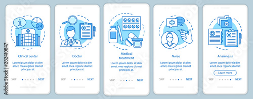 Pinturas sobre lienzo  Medicine and healthcare onboarding mobile app page screen with linear concepts