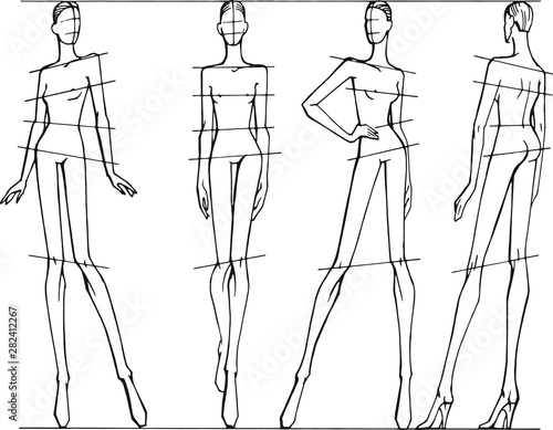 Vector set of different poses for drawing fashion illustrations Canvas-taulu