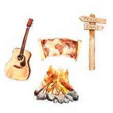 Watercolor Set Camping - Map, Guitar, Bonfire, Pointer