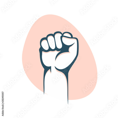Valokuva  Fist male hand, proletarian protest symbol. Power sign