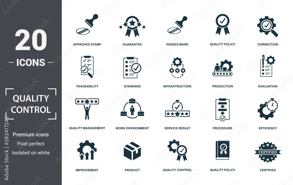 Fototapeta Quality Control icon set. Contain filled flat correction, efficiency, infrastructure, quality policy, traceability, production, guarantee icons. Editable format