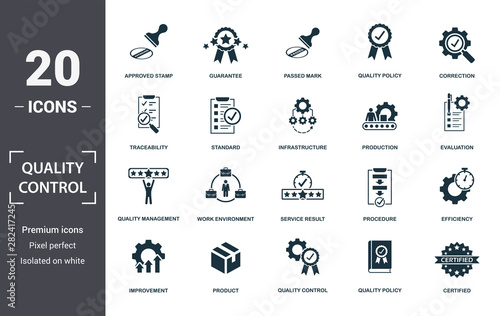 Fototapeta Quality Control icon set. Contain filled flat correction, efficiency, infrastructure, quality policy, traceability, production, guarantee icons. Editable format obraz