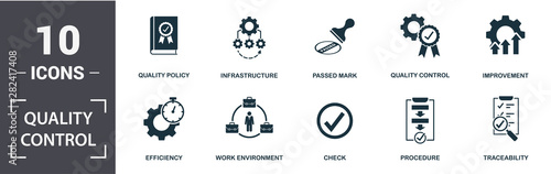 Obraz Quality Control icon set. Contain filled flat procedure, infrastructure, traceability, work environment, improvement, check icons. Editable format - fototapety do salonu