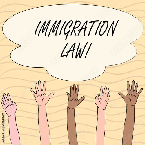 Photo Word writing text Immigration Law