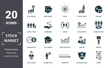 Stock Market Icon Set. Contain Filled Flat Bear Market, Stock Market, Stock Prices, Stock Agent, Business Day, Capital Stock, Commission Icons. Editable Format