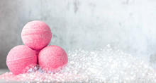 Pink Bath Balls On A Backgroun...