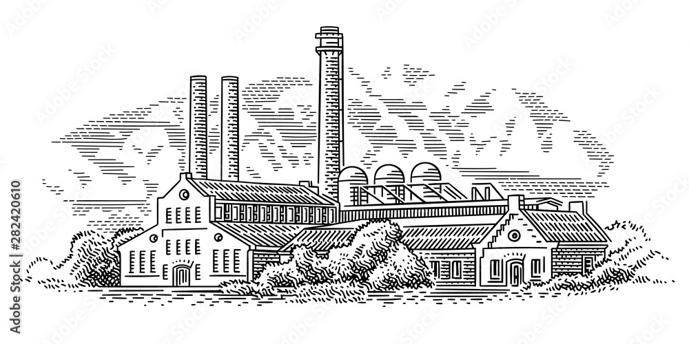 Old factory (plant) engraving style illustration. Vector, sky in separate layer. <span>plik: #282420610 | autor: yuromanovich</span>