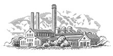 Old Factory (plant) Engraving ...