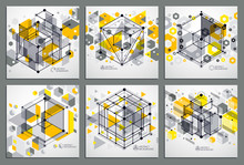 Technical Blueprints Set, Vector Yellow Digital Background With Geometric Design Elements, Cubes. Engineering Technological Wallpaper Made With Honeycombs.
