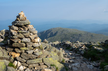 Rock Cairn Along Hiking Trail