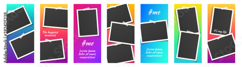 Fototapeta PrintStory template kit for social media with bright gradient background. Set with empty photo frames. Mockup trendy concept set. Insta abstract editable banner pack. Instagram story backgrounds. obraz