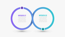 Business Infographics Template.Timeline With 2 Options, Circles, Steps Or Processes. Vector Illustration. Can Be Used For Workflow Diagram, Presentation, Annual Report, Creative Design Elements.