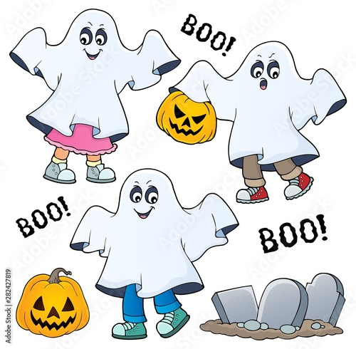 Poster de jardin Enfants Kids in ghost costumes theme image 1