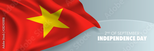 Tablou Canvas Vietnam happy independence day vector banner, greeting card
