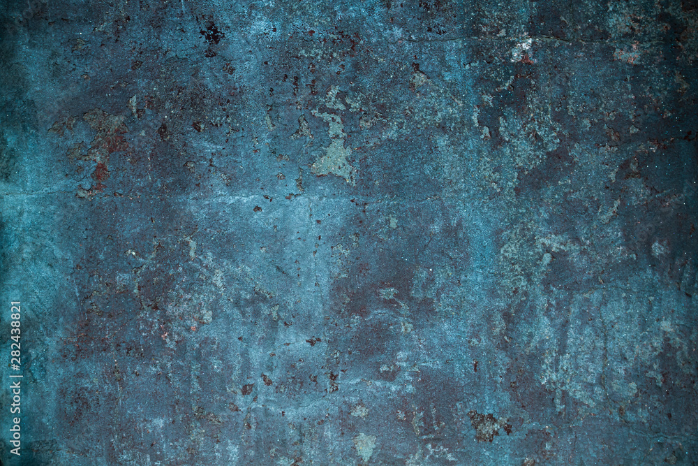 Fototapeta Old blue grungy wall background or texture