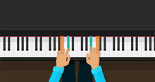 Piano Keys With Person Hands L...