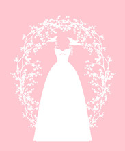 Elegant White Wedding Dress Held By Pair Of Swallow Birds Among Sakura Blossom Branches - Bridal Fashion Vector Design