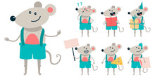 Cute Mouse Vector Cartoon Characters Set Isolated On A White Background.