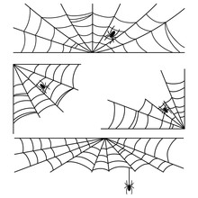 Halloween Cobweb With Spider Vector Frames And Corners Set Isolated On A White Background.