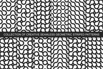 Collection of striped seamless geometric wavy patterns. Black and white curly textures. Endless monochrome backgrounds