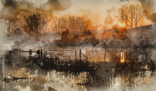 Foto  Digital watercolour painting of Landscape of lake in mist with sun glow at sunri
