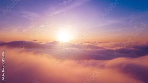 Beautiful sunrise cloudy sky from aerial view Obraz na płótnie