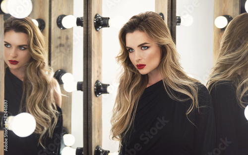 Fotografie, Obraz  Portrait of stunning woman with a beautiful makeup and hairstyle