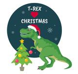 Fototapeta Dinusie - Tyrannosaurus Rex Christmas Card. Dinosaur in Santa hat decorates Christmas tree. Vector illustration of funny character in cartoon flat style.