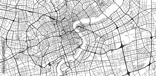 Obraz na plátně Urban vector city map of Shanghai, China