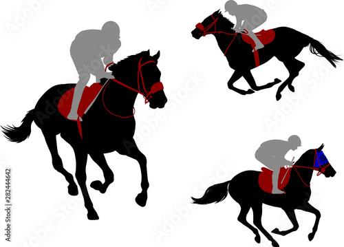 Fotografie, Obraz race horses and jockeys silhouettes