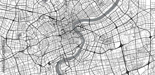 Fotografie, Obraz Urban vector city map of Shanghai, China