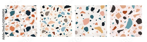 Collection of Terrazzo seamless patterns with colorful rock fragments. Set of backdrops with stone pieces or sprinkles. Bundle of rock textures. Vector illustration for wrapping paper, textile print.