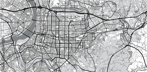 Fotomural Urban vector city map of Taipei, China
