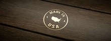 Stamp Made In USA, Engraved In Wood With Gold Inlays.