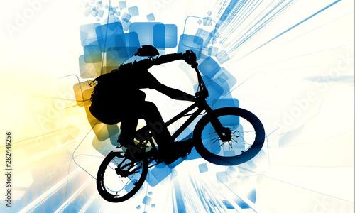 Sport illustration of bmx rider Canvas Print